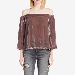 NWT Calvin Klein Jeans Velvet Off-Shoulder Top